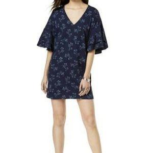 NEW lucky brand | navy tee dress w ruffle sleeves
